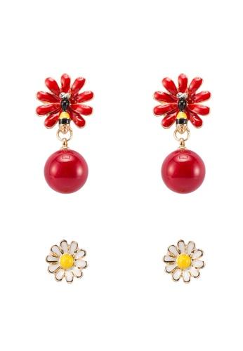 Red's Revenge red and yellow 2-in-1 Flower Garden Dangle & Stud Earrings Set 43414AC9D40EA7GS_1
