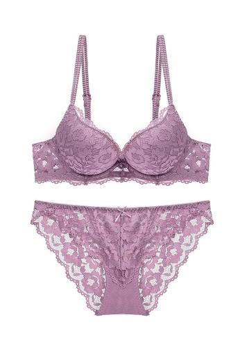 ZITIQUE purple Sexy Lace Lingerie Set (Bra And Underwear) - Purple 5464AUS92A3688GS_1