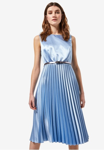 Dorothy Perkins blue Luxe Ice Blue Satin Pleated Skater Dress 436C4AA6E6FAE3GS_1