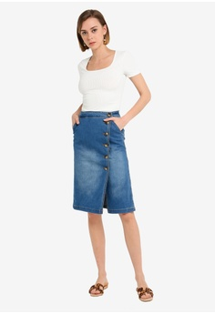 c6c2e6bea8b Dorothy Perkins Denim Horn Button Midi Skirt S  69.90. Available in several  sizes