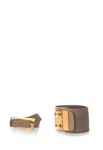 CSHEON grey Light Gray Leather Bracelet Set of 2 - Secret Code Cuff & Arden Cuff 5609AAC286BE44GS_1