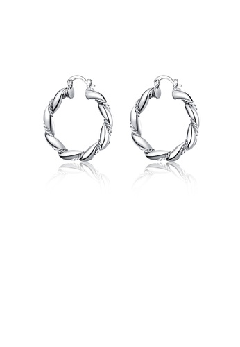 Glamorousky silver Simple Twisted Geometric Round Earrings E2AB5ACC37F525GS_1