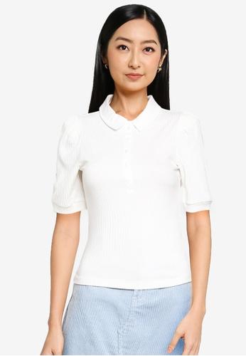 ONLY white Uma Short Sleeve Polo Top 203F2AA42591ECGS_1