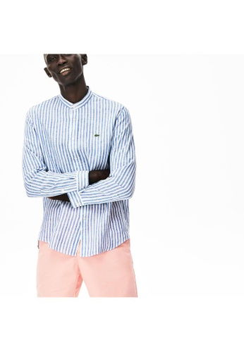Lacoste Lacoste Men's Striped Linen Regular Fit Shirt E7BF5AAD85CF8BGS_1