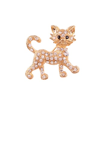 Glamorousky white Simple and Cute Plated Gold Cat Brooch with Cubic Zirconia 0DE9DAC6241CC8GS_1