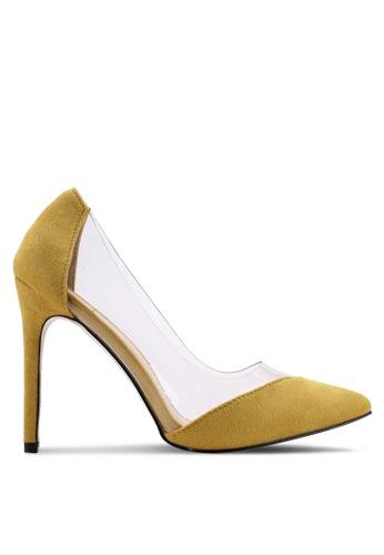 Public Desire 黃色 麂皮透明拼接高跟鞋 D59E1SH1AD1F4BGS_1