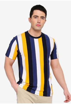 15b9ca90b5a Topman blue Yellow And Blue Striped T-Shirt 0843BAA454DCA4GS 1