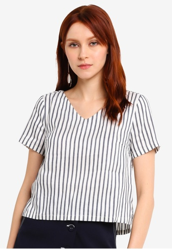 Hopeshow navy V-Neck Short Sleeve Striped Blouse 75E52AA6CCBB89GS_1