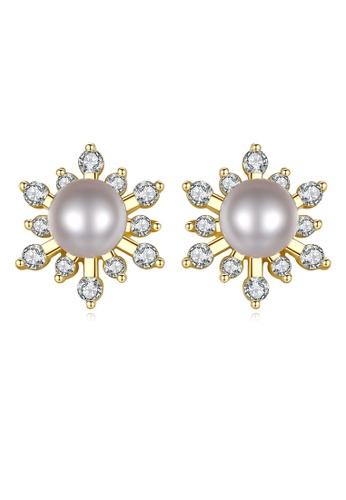SUNRAIS gold Premium color stone golden star earrings 1ACDFACEE167ABGS_1