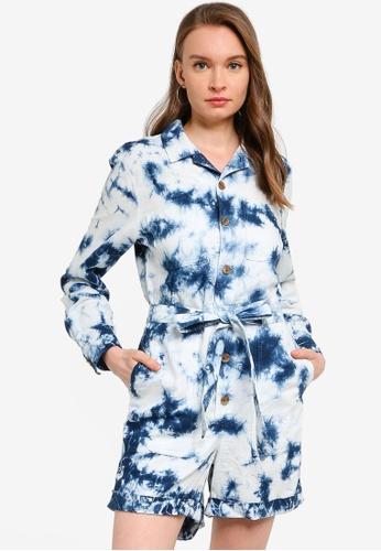 GAP blue Long Sleeves Tie Dye Romper 10E5CAA616A3BBGS_1