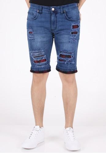 Meitavi's Menswear Spark Blue Flanel Rip Off Short Soft Jeans