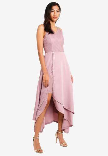 Megane pink Red Romance Karlotta Asymmetric Long Dress 42616AAB2564B7GS_1