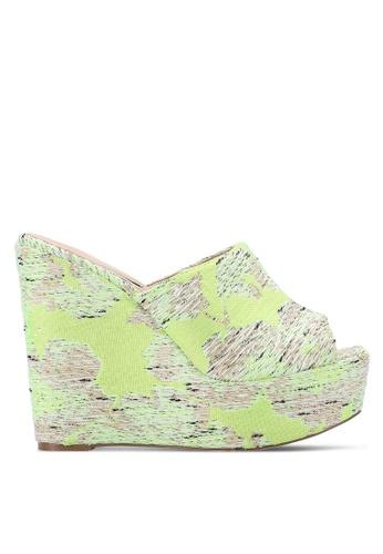 Nose yellow Colorful Peep Toe Slide Heel Wedges NO327SH0RC8RMY_1