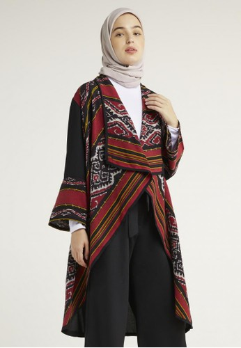 Silmaa red and multi Sevinc Red Tenun Long Cardigan EBEAEAAFDCDFDEGS_1