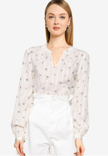 Gap white Long Sleeves Shirred Popover Blouse 8E7F2AA467C3D5GS_1