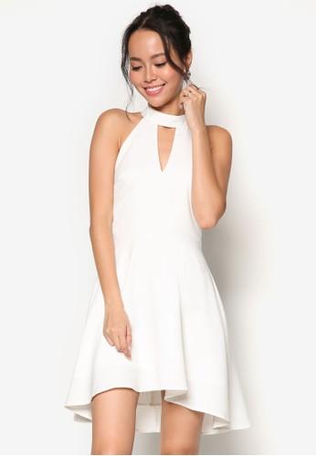 esprit台灣鏤空削肩高領傘擺洋裝, 服飾, 洋裝