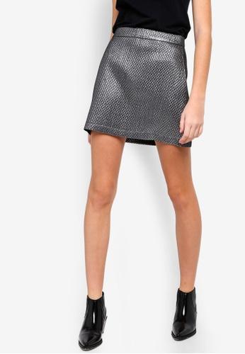 Something Borrowed silver Jacquard Pelmet Skirt 6F2EAAA4F41A82GS_1