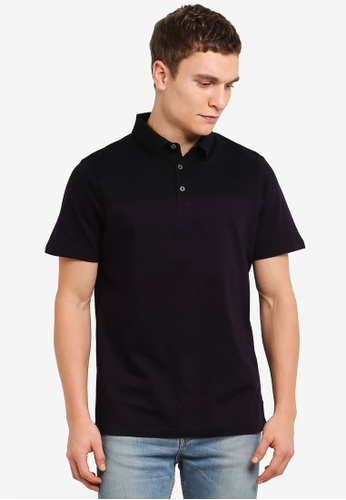 Burton Menswear London black Black And Purple Colour Block Polo Shirt BU964AA0S9QQMY_1