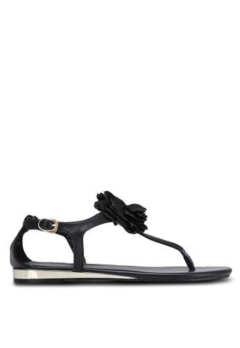 Velvet black Sandals with Flower Ornament 576CASH91CA94AGS_1