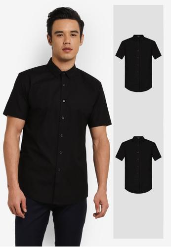 ZALORA black 2 Pack Soft Cotton Twill Short Sleeve Shirt ZA919AA0FKGKSG_1