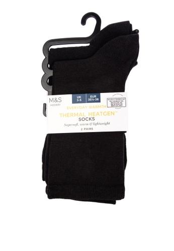 MARKS & SPENCER black 2 Pair Pack Heatgen™ Ankle High Socks 77509AA741814FGS_1