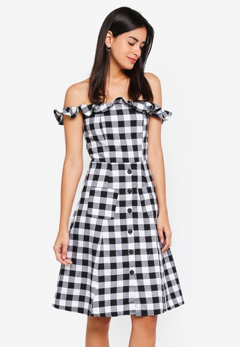 MDSCollections black Frilly Flared Dress In Black Gingham EB1BCAAB1A0A23GS_1