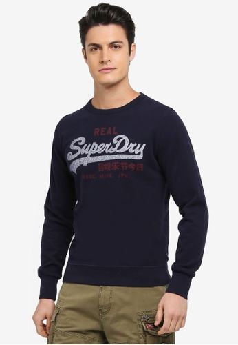 Superdry navy Vintage Logo Duo Lite Weight Crew Sweatshirt D01A0AA49BC131GS_1