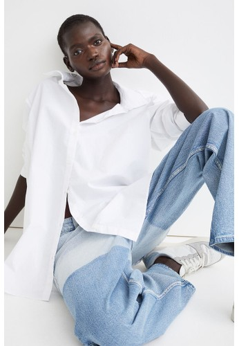 H&M white Cotton shirt 3B8AFAA9D9DAAEGS_1
