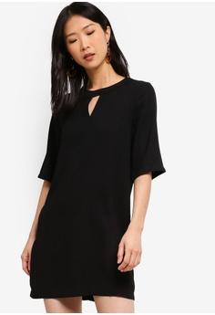 96c207ed8c ZALORA BASICS black Basic 3 4 Sleeves Notch Neck Dress B8332AAE1B5348GS 1