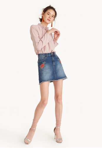 Pomelo pink Frill High Neck Keyhole Blouse - Pink 07E11AA846C6CCGS_1