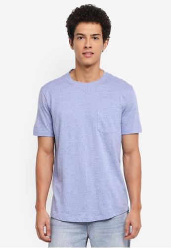 MANGO Man 藍色 短袖素色口袋T恤 58995AAAD8DBD4GS_1