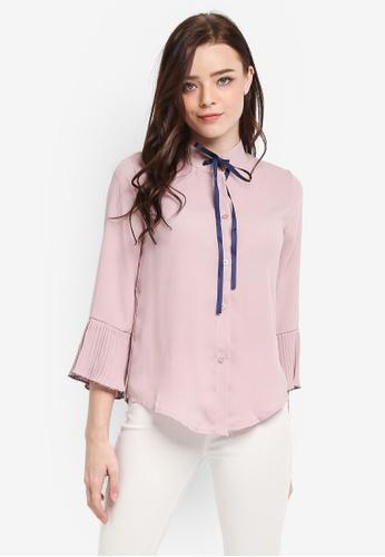 BYN pink Plain Pleated Sleeve Top 38D61AAE70852AGS_1