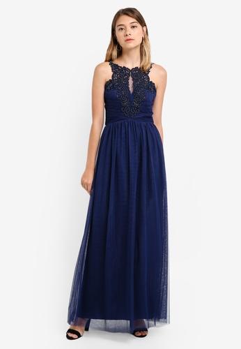 Little Mistress navy Mesh Dress 0F589AA95E90BAGS_1