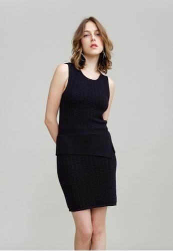 KLAPS 黑色 紋理針織連身短裙 2C327AA2B1D786GS_1