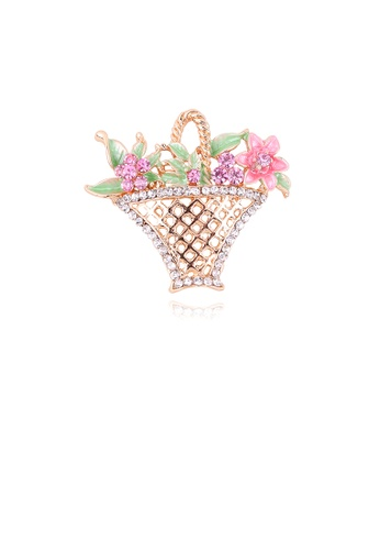 Glamorousky white Fashion Creative Plated Gold Flower Basket Brooch with Cubic Zirconia 180C0AC63B0643GS_1
