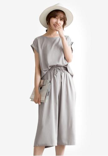 Tokichoi grey Basic Top and Culotte Set E5096AABBB8C1FGS_1