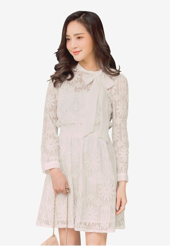 YOCO white Floral Lace Ribbon Dress 5F934AAD264215GS_1