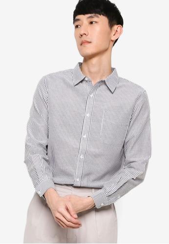 ZALORA BASICS black and white Regular Button Down Stripe Oxford Shirt E6673AA26C7AB3GS_1
