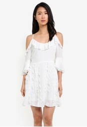 KLEEaisons white Ruffles Cold Shoulder Mini Dress KL492AA0RZM7MY_1