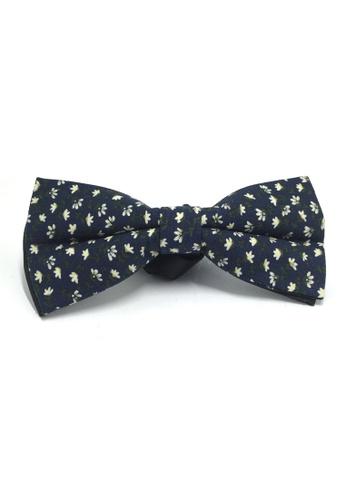 Splice Cufflinks Blooming Series Navy Blue Floral Design Cotton Pre-tied Bow Tie SP744AC20QOXSG_1