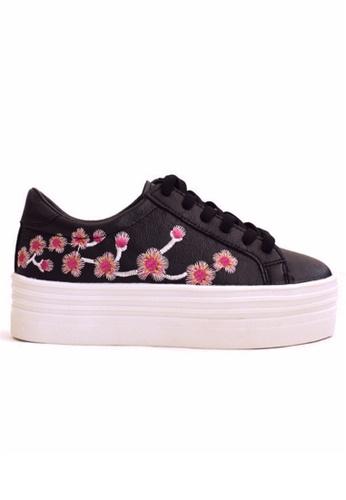 Crystal Korea Fashion black Korean Embroidery Pattern Thick Bottom Casual Shoes CR681SH2UR96HK_1