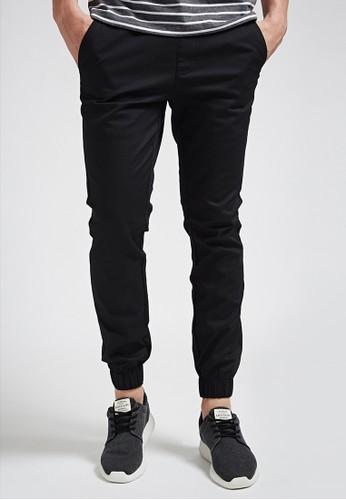 俐落街頭。彈力棉質。白標esprit旗艦店綁帶縮口長褲-02338-黑色, 服飾, 直筒褲
