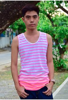 Pink & Orange Stripes Tank Top