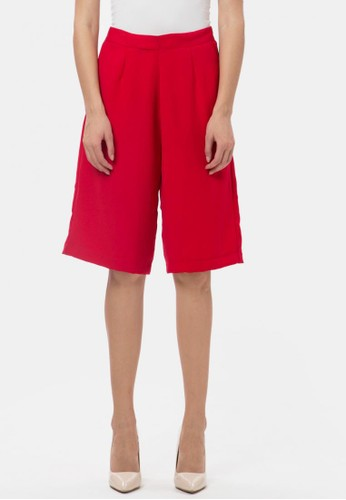 MKY Clothing red Pocket Zipper Culotte Pants in Red 7FD0DAAAE6C104GS_1