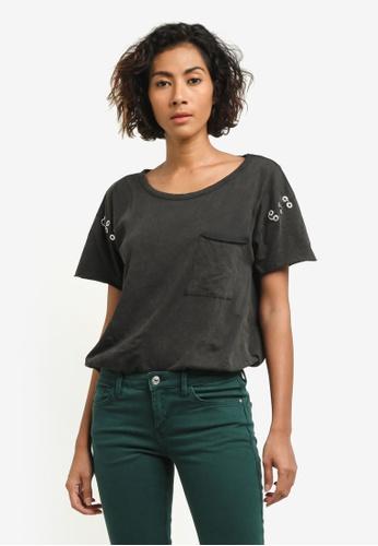 Mango grey Piercings Sleeve T-Shirt MA193AA0RSAUMY_1