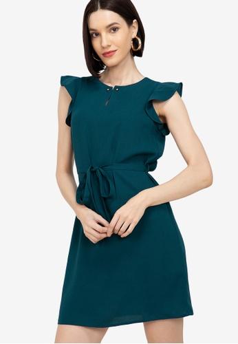 ZALORA WORK green Frill Sleeves Dress B3F5FAA9CE96EFGS_1
