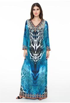 ... Reyn Shop Yumy Dress Putih Dress Wanita Baju Wanita Pakaian Wanita; Page -. Source · Devain Kapoor blue Sybille Feather Print Long Dress with Side Slits ...