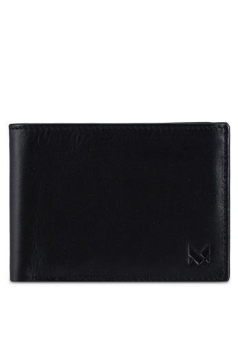 Miajee's black Minimalist Leather Bifold Wallet with Coin Pouch - Black 5DFDCACBE1D604GS_1