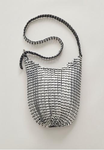 Bottletop silver Bottletop® Bellani Silver Recycled Aluminium Pull Rings black crocheted Shoulder Bag B1D6AACF8F6897GS_1