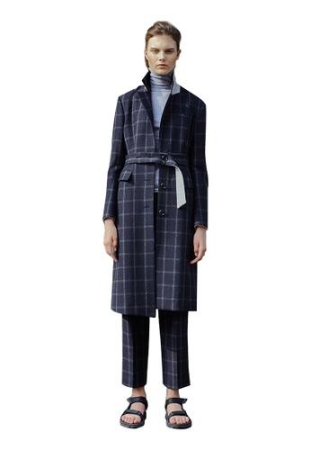 En Or navy Wool Checkered Long Coat EN523AA0GSXTSG_1